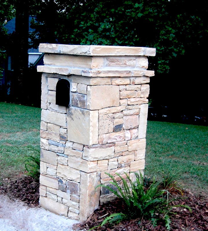 Stone Mailbox Pillars : Custom stone mailbox column with gallery pictures