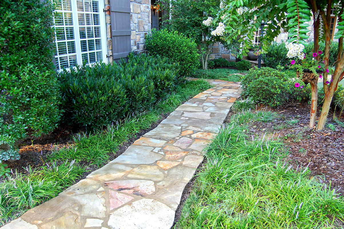 Stone Walkway Ideas Stone Wall Hardscape Inspiration