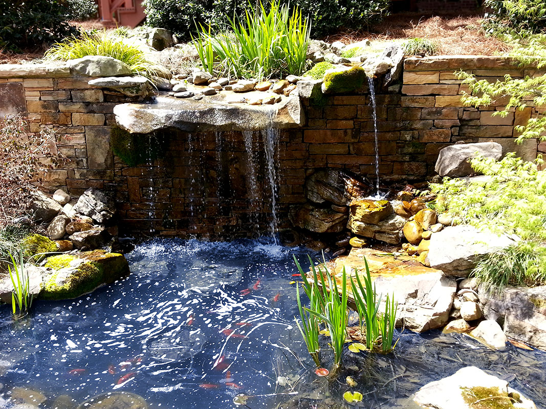 Stone waterfalls georgia hardscape landscape stone for Stone garden waterfall